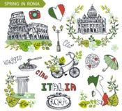 Σύνολο ορόσημων της Ιταλίας Ρώμη Ομάδα στεφανιών φύλλων άνοιξη ελεύθερη απεικόνιση δικαιώματος