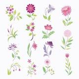 Σύνολο λουλουδιών κινούμενων σχεδίων Στοκ Φωτογραφίες