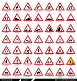 Σύνολο οδικών σημαδιών προειδοποίησης Στοκ εικόνα με δικαίωμα ελεύθερης χρήσης