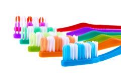 Σύνολο οδοντοβουρτσών που απομονώνεται στο άσπρο υπόβαθρο Στοκ Εικόνες
