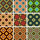 Σύνολο πέντε διαφορετικών χρωματισμένων γεωμετρικών άνευ ραφής σχεδίων Στοκ Φωτογραφία