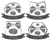 Σύνολο πίτσας ετικετών, pizzeria, στοιχεία σχεδίου Στοκ εικόνες με δικαίωμα ελεύθερης χρήσης