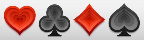 Σύνολο παίζοντας μορφών σημαδιών κοστουμιών καρτών Τέχνη εγγράφου τεσσάρων συμβόλων καρτών επίσης corel σύρετε το διάνυσμα απεικό Στοκ Εικόνα