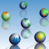Σύνολο παγκόσμιου χάρτη σφαιρών με το διάνυσμα σκιών Στοκ Εικόνες