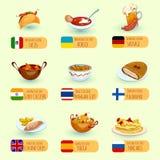 Σύνολο παγκόσμιων τροφίμων ελεύθερη απεικόνιση δικαιώματος