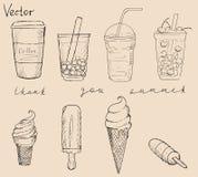 Σύνολο παγωτού και coctails coffe τσαγιού Απεικόνιση αποθεμάτων