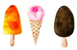 Σύνολο παγωτού Watercolor Στοκ φωτογραφίες με δικαίωμα ελεύθερης χρήσης