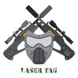 Σύνολο παιχνιδιού ετικεττών λέιζερ, κράνος, πυροβόλα όπλα στο επίπεδο ύφος Στοκ εικόνες με δικαίωμα ελεύθερης χρήσης