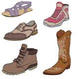 Σύνολο παπουτσιών των ατόμων, μποτών φορεμάτων πάνινων παπουτσιών και σανδαλιών Στοκ Φωτογραφίες