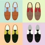 Σύνολο παπουτσιών των κλασικών ατόμων αναδρομικό ύφος Διάφορο χρώμα Στοκ Εικόνα