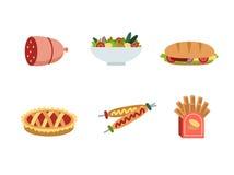 Σύνολο παραδοσιακών εικονιδίων τροφίμων Στοκ εικόνες με δικαίωμα ελεύθερης χρήσης
