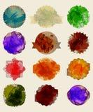 Σύνολο παλαιάς σκοτεινής εκλεκτής ποιότητας ετικέτας grunge στο watercolor Απεικόνιση αποθεμάτων
