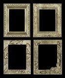 Σύνολο 4 παλαιό χρυσό πλαίσιο που απομονώνεται στο μαύρο υπόβαθρο, clippin Στοκ εικόνα με δικαίωμα ελεύθερης χρήσης