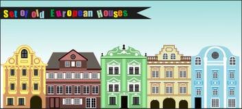 Σύνολο παλαιών ζωηρόχρωμων ευρωπαϊκών σπιτιών Στοκ φωτογραφίες με δικαίωμα ελεύθερης χρήσης