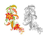 Σύνολο περίληψης και χρωματισμένου εκλεκτής ποιότητας ανθοδέσμης ή σχεδίου λουλουδιών Στοκ Εικόνες