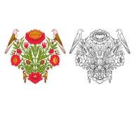 Σύνολο περίληψης και χρωματισμένου εκλεκτής ποιότητας ανθοδέσμης ή σχεδίου λουλουδιών Στοκ Φωτογραφία