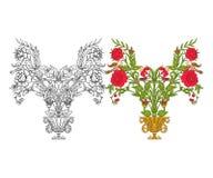 Σύνολο περίληψης και χρωματισμένου εκλεκτής ποιότητας ανθοδέσμης ή σχεδίου λουλουδιών Στοκ εικόνες με δικαίωμα ελεύθερης χρήσης