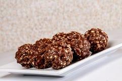 Σύνολο πιάτων της σοκολάτας φουντουκιών στοκ εικόνες με δικαίωμα ελεύθερης χρήσης