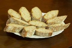 σύνολο πιάτων των φετών ψωμιού Στοκ Εικόνα
