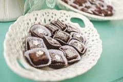 Σύνολο πιάτων των brownies Στοκ Φωτογραφίες