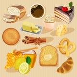 Σύνολο πιτών και προϊόντων αλευριού από το κατάστημα αρτοποιείων ή ζύμης απεικόνιση αποθεμάτων