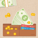 Σύνολο πορτοφολιών δέρματος των νομισμάτων σημειώσεων δολαρίων και των πιστωτικών καρτών Επίπεδο σχέδιο απεικόνιση αποθεμάτων