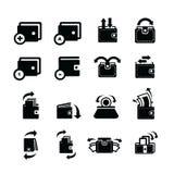 Σύνολο πορτοφολιών και συζήτησης και βελών φυσαλίδων εικονίδια Στοκ φωτογραφία με δικαίωμα ελεύθερης χρήσης