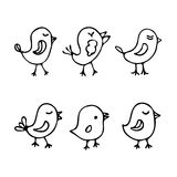Σύνολο πουλιών κινούμενων σχεδίων τέχνης γραμμών Στοκ Εικόνες