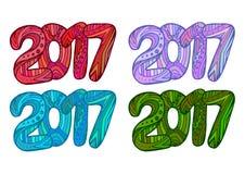 Σύνολο πολύχρωμων αριθμών 2017 Doodle με το σχέδιο boho ελεύθερη απεικόνιση δικαιώματος