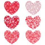 Σύνολο πολύχρωμων καρδιών που διακοσμούν και που σχεδιάζουν ελεύθερη απεικόνιση δικαιώματος