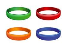 Σύνολο πολύχρωμων πλαστικών wristband Στοκ Εικόνα