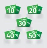Σύνολο πράσινης τιμής αυτοκόλλητων ετικεττών τοις εκατό πώλησης Στοκ φωτογραφίες με δικαίωμα ελεύθερης χρήσης