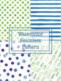 Σύνολο πράσινου και μπλε χρώματος σχεδίων watercolor άνευ ραφής Στοκ φωτογραφία με δικαίωμα ελεύθερης χρήσης