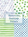 Σύνολο πράσινου και μπλε χρώματος σχεδίων watercolor άνευ ραφής Στοκ Εικόνες