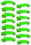 Σύνολο πράσινων κορδελλών και εμβλημάτων κινούμενων σχεδίων για το σχέδιο Ιστού Μεγάλο στοιχείο σχεδίου που απομονώνεται στο άσπρ Στοκ φωτογραφία με δικαίωμα ελεύθερης χρήσης