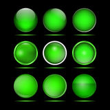 Σύνολο πράσινων στρογγυλών κουμπιών για τον ιστοχώρο Στοκ Εικόνες