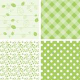 Σύνολο πράσινων υποβάθρων - άνευ ραφής σχέδιο διανυσματική απεικόνιση