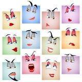 Σύνολο προσώπου συγκίνησης εικονιδίων ειδώλων χαμόγελου Στοκ φωτογραφία με δικαίωμα ελεύθερης χρήσης