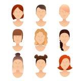 Σύνολο προσώπων γυναικών με τα διαφορετικά hairstyles Στοκ εικόνα με δικαίωμα ελεύθερης χρήσης