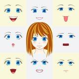 Σύνολο προσώπων στο ύφος manga Χαριτωμένα μάτια και στόματα anime Διαφορετικά ανθρώπινα μάτια και χείλια που παρουσιάζουν διάφορε Στοκ Εικόνα