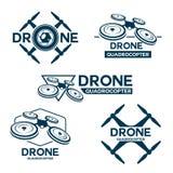 Σύνολο προτύπου λογότυπων κηφήνων quadrocopter διανυσματική απεικόνιση