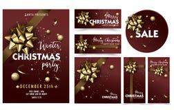 Σύνολο προτύπων αφισών σχεδιαγράμματος κομμάτων Χαρούμενα Χριστούγεννας διακοπών Στοκ φωτογραφία με δικαίωμα ελεύθερης χρήσης