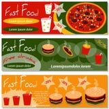 Σύνολο προτύπων ιπτάμενων γρήγορου φαγητού Στοκ Εικόνα