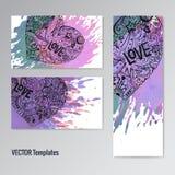 Σύνολο προτύπων καρτών Καρδιές Doodle παφλασμός χρωμάτων Ελεύθερη απεικόνιση δικαιώματος