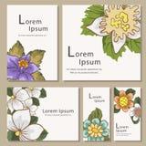 Σύνολο προτύπων καρτών πρόσκλησης με το λουλούδι Στοκ Φωτογραφία