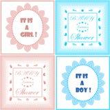Σύνολο προτύπων καρτών πρόσκλησης ντους μωρών Σχέδιο αγοριών και κοριτσιών μωρό ανακοίνωσης νεογέννη&t Εορτασμός γέννησης μωρών Στοκ εικόνα με δικαίωμα ελεύθερης χρήσης