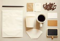 Σύνολο προτύπων μαρκαρίσματος ταυτότητας καφέ στοκ φωτογραφία