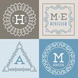Σύνολο προτύπων λογότυπων στο μονο ύφος γραμμών Στοκ Εικόνα