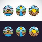 Σύνολο προτύπων λογότυπων τοπίων φύσης Στοκ φωτογραφία με δικαίωμα ελεύθερης χρήσης
