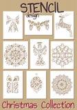 Σύνολο προτύπων σχεδίου διάτρητων Χριστούγεννα Στοκ φωτογραφία με δικαίωμα ελεύθερης χρήσης